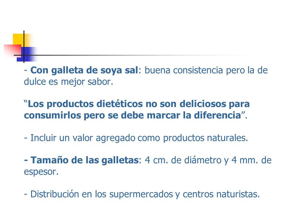 - Con galleta de soya sal: buena consistencia pero la de dulce es mejor sabor.Los productos dietéticos no son deliciosos para consumirlos pero se debe