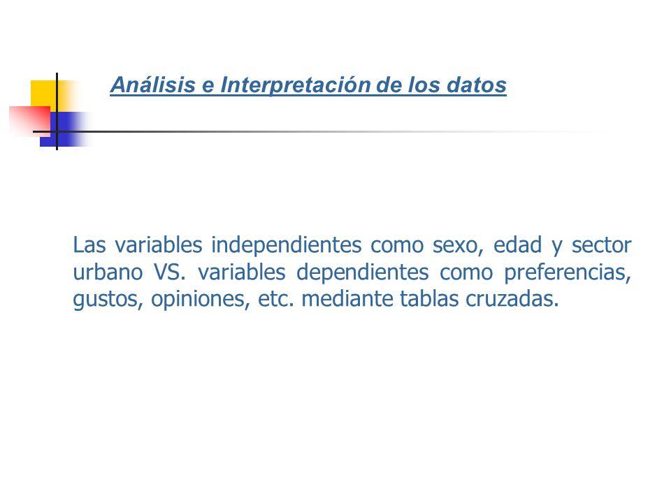Las variables independientes como sexo, edad y sector urbano VS. variables dependientes como preferencias, gustos, opiniones, etc. mediante tablas cru