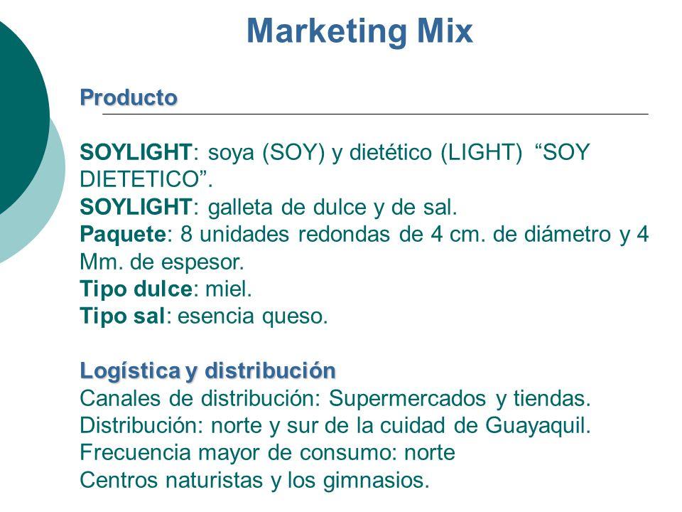 Marketing Mix Producto Logística y distribución Producto SOYLIGHT: soya (SOY) y dietético (LIGHT) SOY DIETETICO. SOYLIGHT: galleta de dulce y de sal.