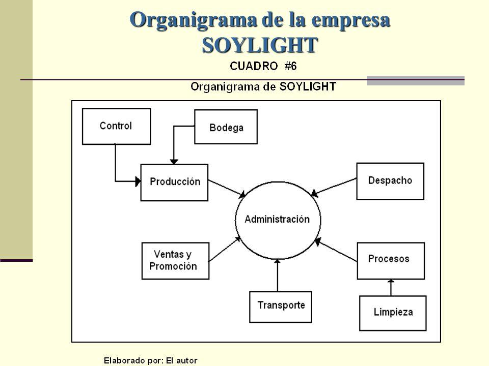 Organigrama de la empresa SOYLIGHT