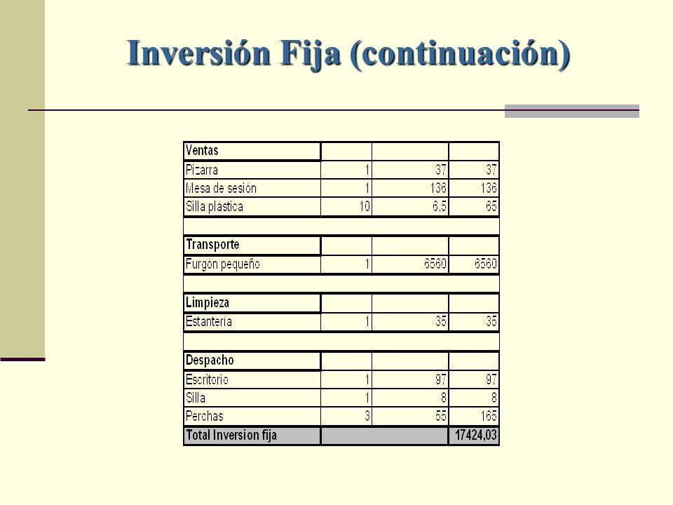 Inversión Fija (continuación)