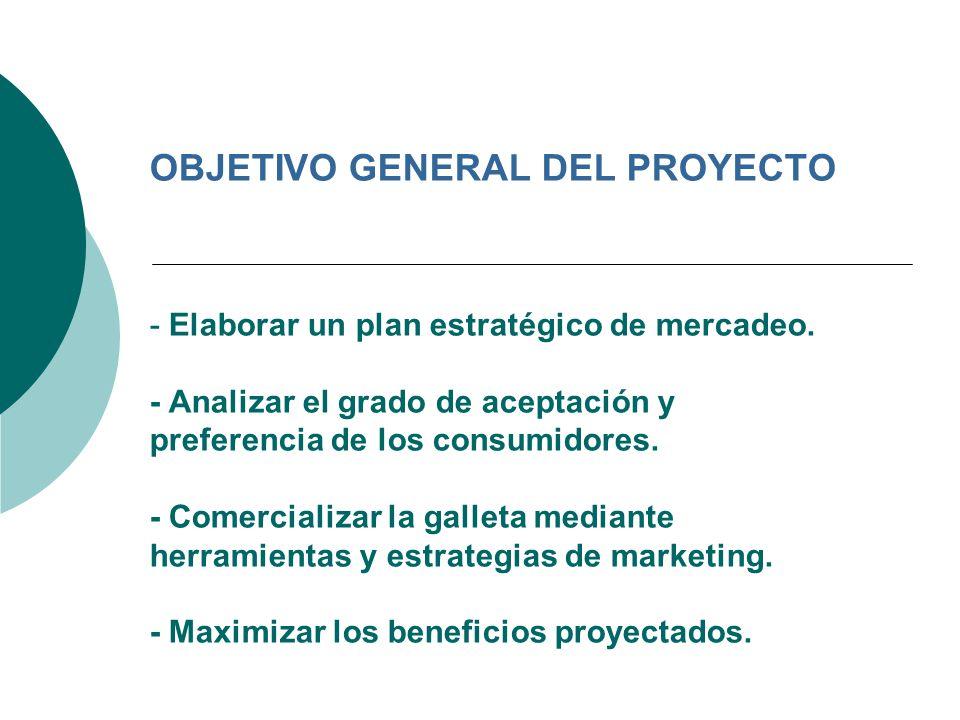 OBJETIVO GENERAL DEL PROYECTO - Elaborar un plan estratégico de mercadeo. - Analizar el grado de aceptación y preferencia de los consumidores. - Comer