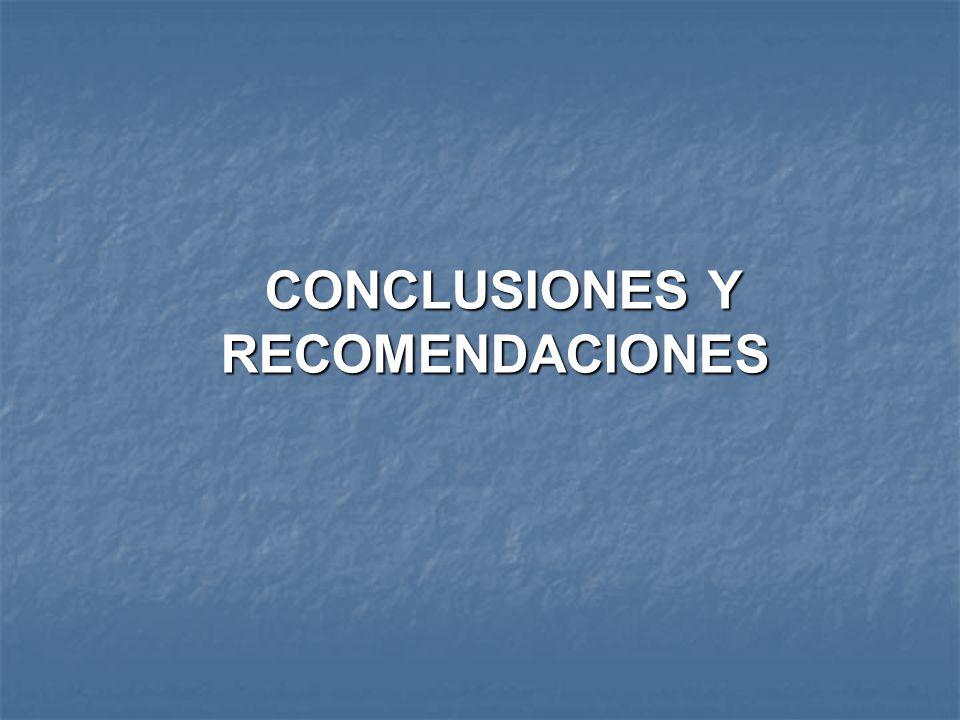 CONCLUSIONES Y RECOMENDACIONES CONCLUSIONES Y RECOMENDACIONES