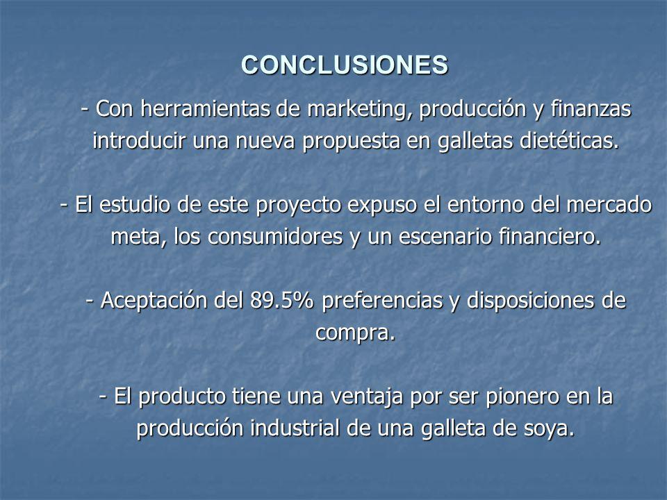 - Con herramientas de marketing, producción y finanzas introducir una nueva propuesta en galletas dietéticas. - El estudio de este proyecto expuso el