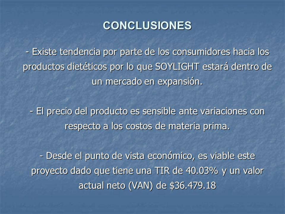 - Existe tendencia por parte de los consumidores hacia los productos dietéticos por lo que SOYLIGHT estará dentro de un mercado en expansión. - El pre