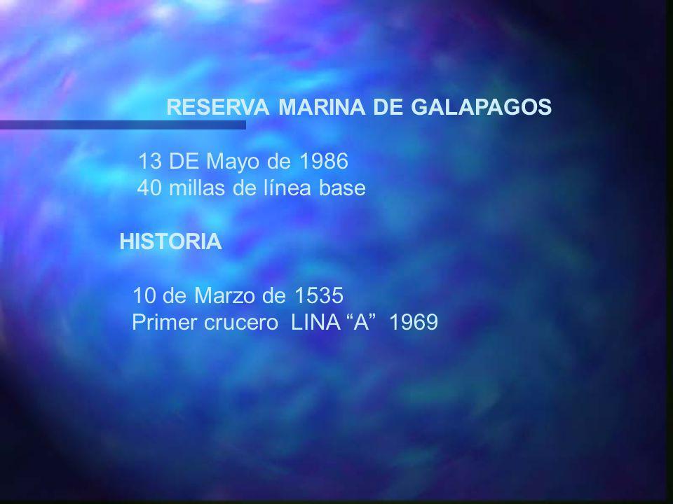 RESERVA MARINA DE GALAPAGOS 13 DE Mayo de 1986 40 millas de línea base HISTORIA 10 de Marzo de 1535 Primer crucero LINA A 1969
