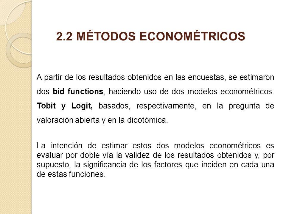 A partir de los resultados obtenidos en las encuestas, se estimaron dos bid functions, haciendo uso de dos modelos econométricos: Tobit y Logit, basad