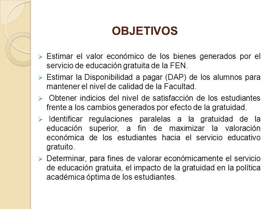 OBJETIVOS Estimar el valor económico de los bienes generados por el servicio de educación gratuita de la FEN. Estimar la Disponibilidad a pagar (DAP)
