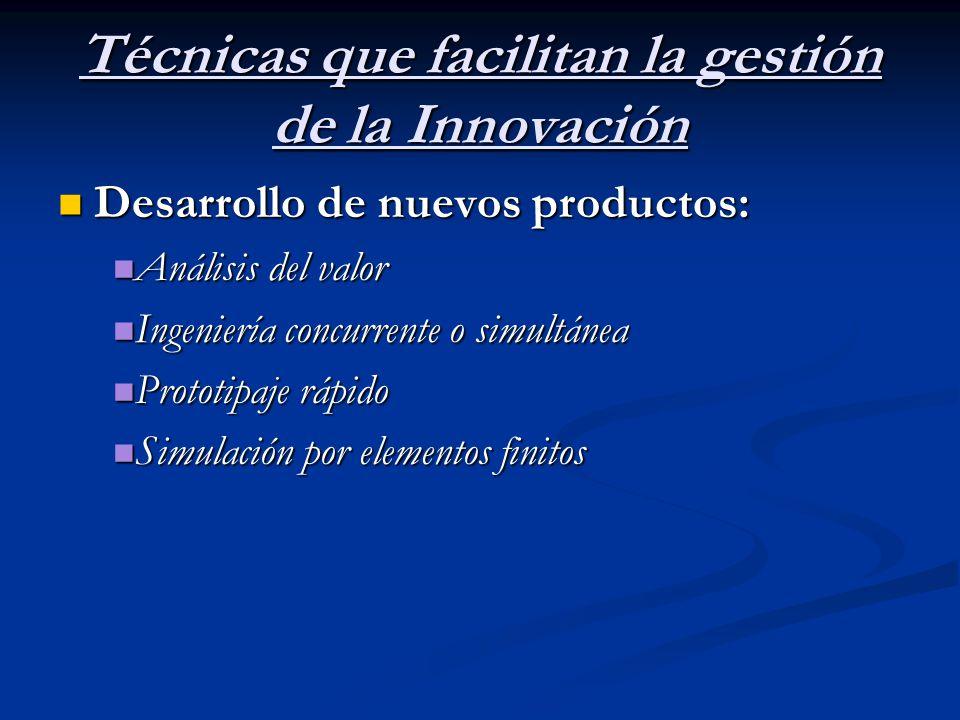 Técnicas que facilitan la gestión de la Innovación Desarrollo de nuevos productos: Desarrollo de nuevos productos: Análisis del valor Análisis del val