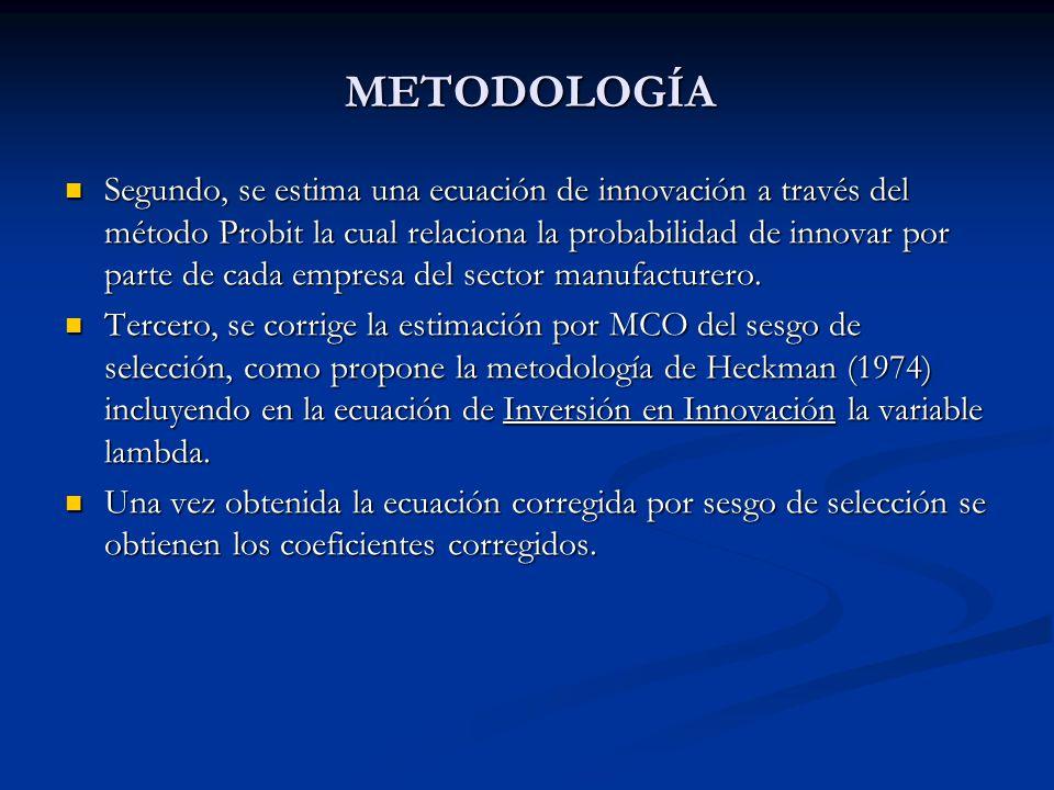 Segundo, se estima una ecuación de innovación a través del método Probit la cual relaciona la probabilidad de innovar por parte de cada empresa del sector manufacturero.