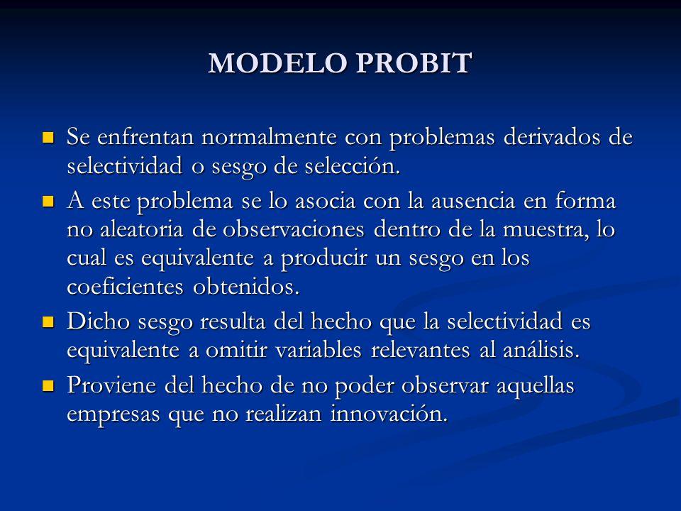 MODELO PROBIT Se enfrentan normalmente con problemas derivados de selectividad o sesgo de selección. Se enfrentan normalmente con problemas derivados