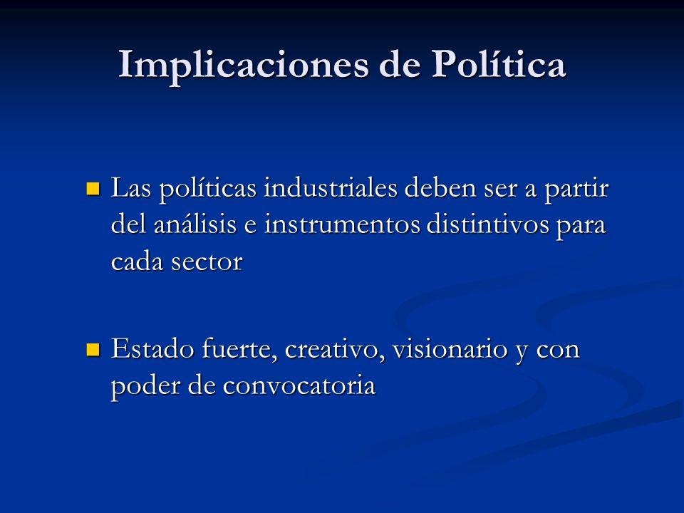 Las políticas industriales deben ser a partir del análisis e instrumentos distintivos para cada sector Las políticas industriales deben ser a partir del análisis e instrumentos distintivos para cada sector Estado fuerte, creativo, visionario y con poder de convocatoria Estado fuerte, creativo, visionario y con poder de convocatoria Implicaciones de Política