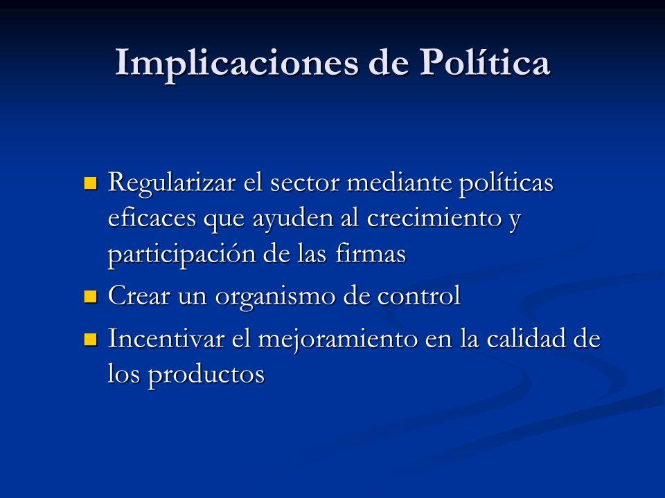 Regularizar el sector mediante políticas eficaces que ayuden al crecimiento y participación de las firmas Regularizar el sector mediante políticas efi