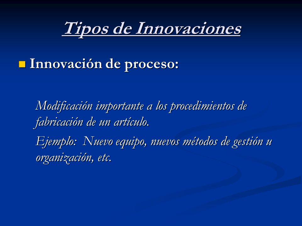 Tipos de Innovaciones Innovación de proceso: Innovación de proceso: Modificación importante a los procedimientos de fabricación de un artículo. Ejempl