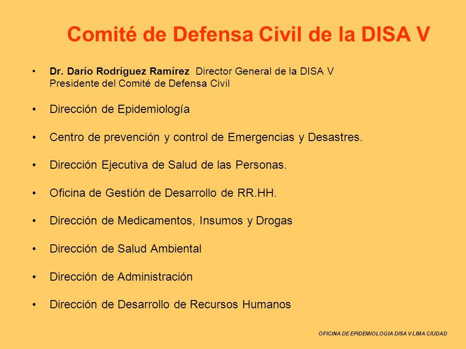 OFICINA DE EPIDEMIOLOGIA DISA V LIMA CIUDAD Comité de Defensa Civil de la DISA V Dr. Darío Rodríguez Ramírez Director General de la DISA V Presidente