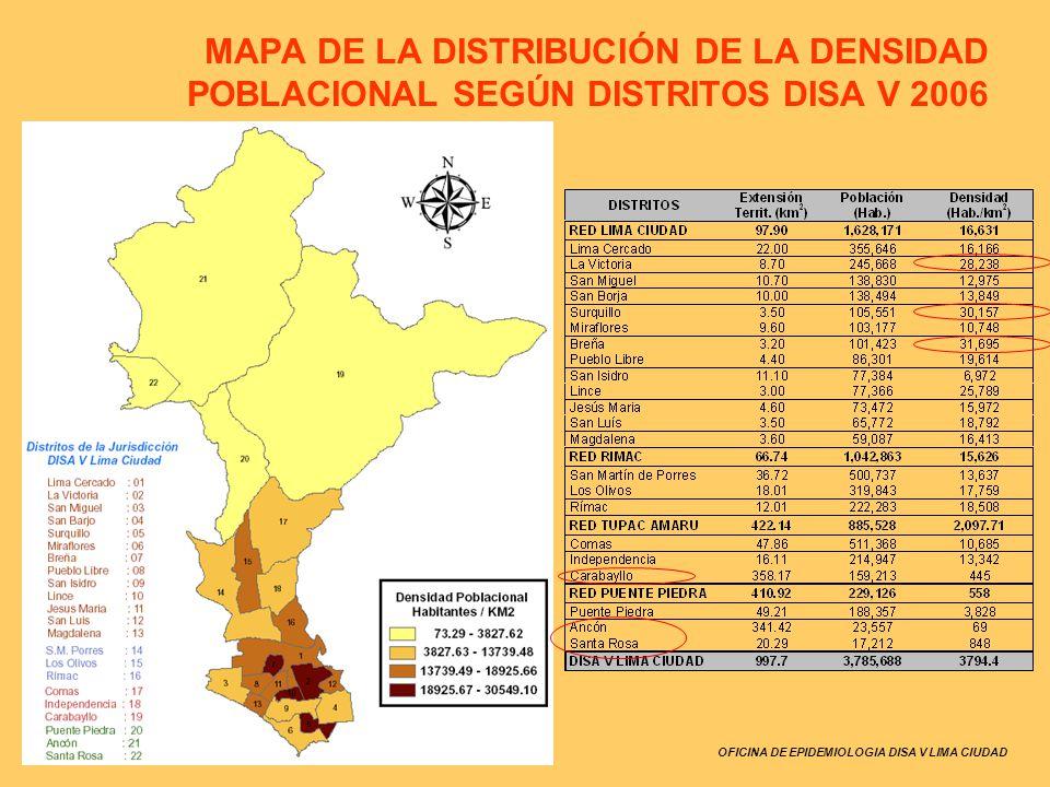 OFICINA DE EPIDEMIOLOGIA DISA V LIMA CIUDAD MAPA DE LA DISTRIBUCIÓN DE LA DENSIDAD POBLACIONAL SEGÚN DISTRITOS DISA V 2006