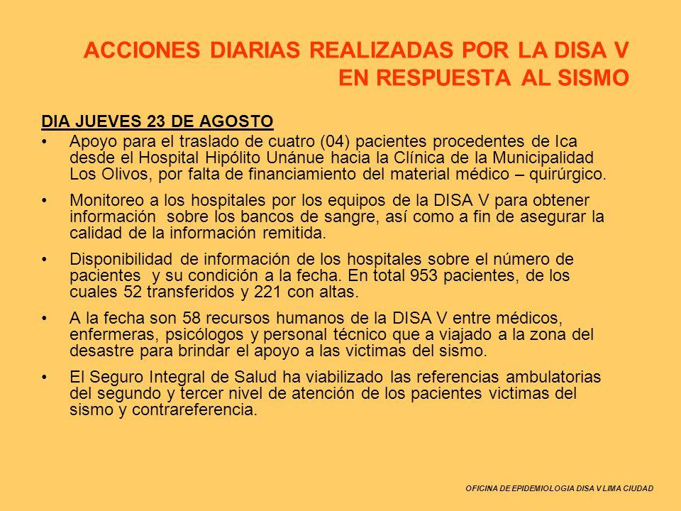 OFICINA DE EPIDEMIOLOGIA DISA V LIMA CIUDAD DIA JUEVES 23 DE AGOSTO Apoyo para el traslado de cuatro (04) pacientes procedentes de Ica desde el Hospit