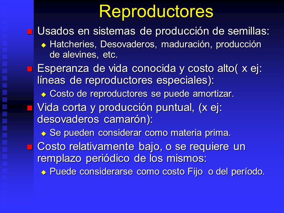 Reproductores Usados en sistemas de producción de semillas: Usados en sistemas de producción de semillas: Hatcheries, Desovaderos, maduración, producción de alevines, etc.
