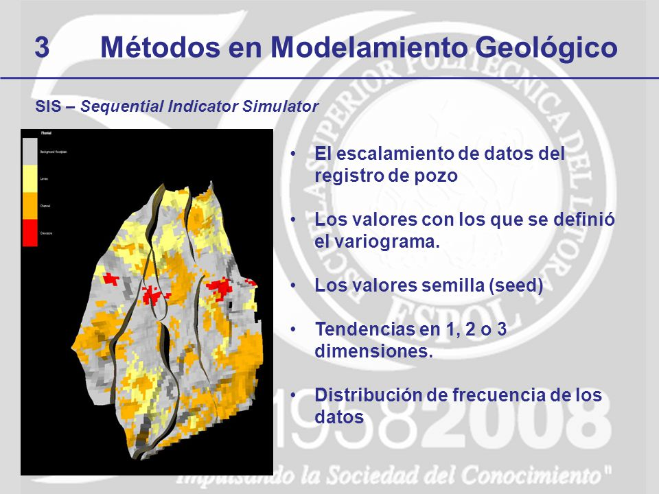 3Métodos en Modelamiento Geológico SIS – Sequential Indicator Simulator El escalamiento de datos del registro de pozo Los valores con los que se defin
