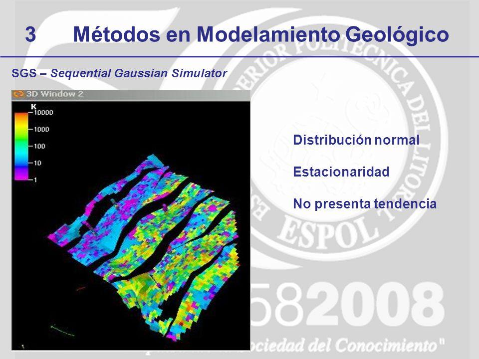 3Métodos en Modelamiento Geológico SGS – Sequential Gaussian Simulator Distribución normal Estacionaridad No presenta tendencia