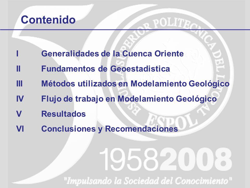 Contenido IGeneralidades de la Cuenca Oriente IIFundamentos de Geoestadistica IIIMétodos utilizados en Modelamiento Geológico IVFlujo de trabajo en Modelamiento Geológico VResultados VIConclusiones y Recomendaciones