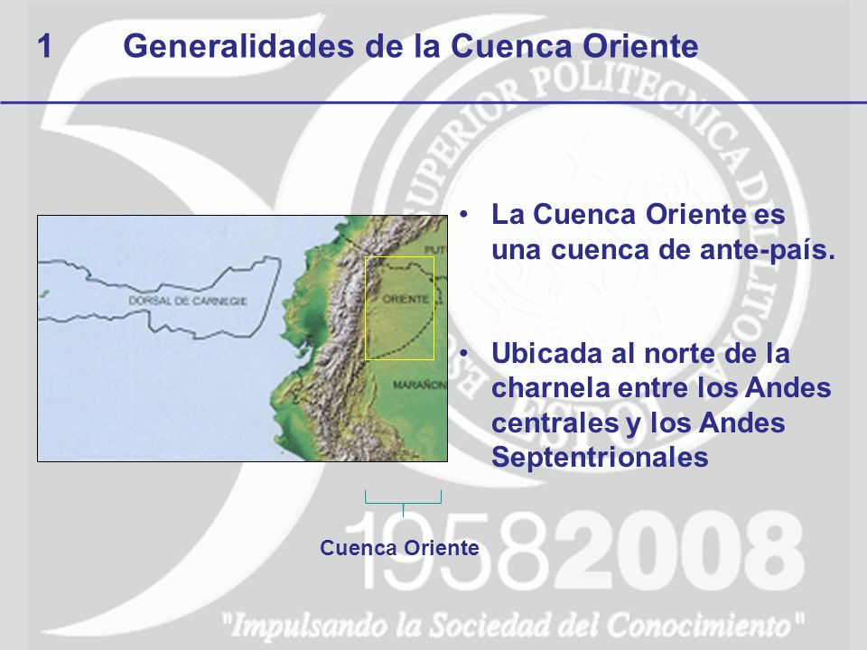 1Generalidades de la Cuenca Oriente La Cuenca Oriente es una cuenca de ante-país. Ubicada al norte de la charnela entre los Andes centrales y los Ande