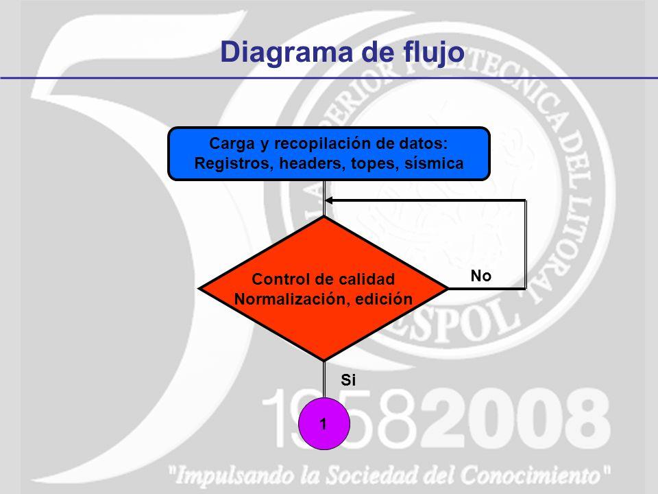 Carga y recopilación de datos: Registros, headers, topes, sísmica Diagrama de flujo Control de calidad Normalización, edición No Si 1