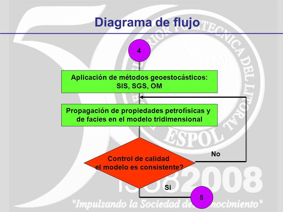 Diagrama de flujo 4 5 Propagación de propiedades petrofísicas y de facies en el modelo tridimensional Aplicación de métodos geoestocásticos: SIS, SGS,