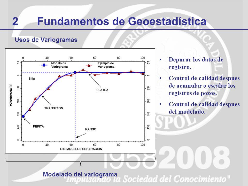 2Fundamentos de Geoestadística Depurar los datos de registro. Control de calidad despues de acumular o escalar los registros de pozos. Control de cali