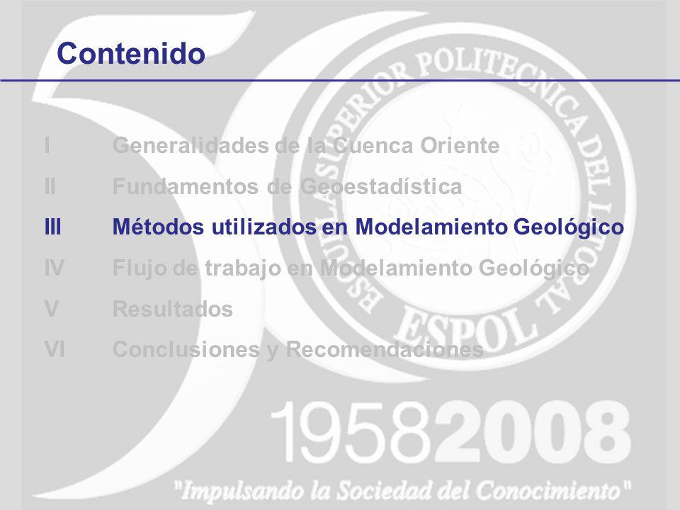 Contenido IGeneralidades de la Cuenca Oriente IIFundamentos de Geoestadística IIIMétodos utilizados en Modelamiento Geológico IVFlujo de trabajo en Mo