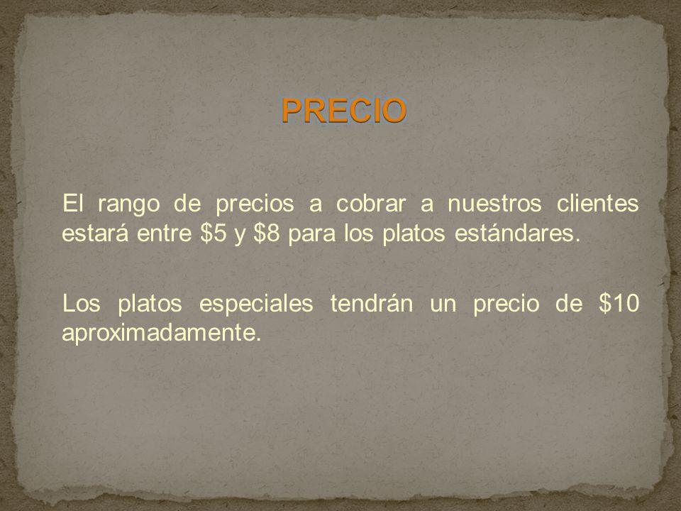 El rango de precios a cobrar a nuestros clientes estará entre $5 y $8 para los platos estándares. Los platos especiales tendrán un precio de $10 aprox