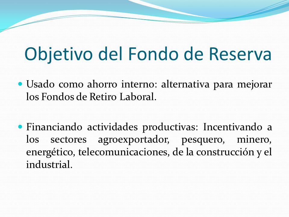 Objetivo del Fondo de Reserva Usado como ahorro interno: alternativa para mejorar los Fondos de Retiro Laboral. Financiando actividades productivas: I