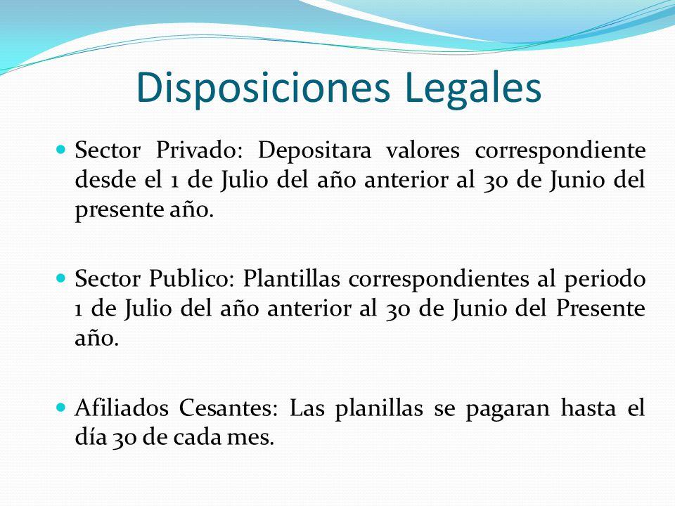 Disposiciones Legales Sector Privado: Depositara valores correspondiente desde el 1 de Julio del año anterior al 30 de Junio del presente año. Sector