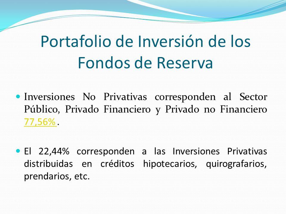 Portafolio de Inversión de los Fondos de Reserva Inversiones No Privativas corresponden al Sector Público, Privado Financiero y Privado no Financiero
