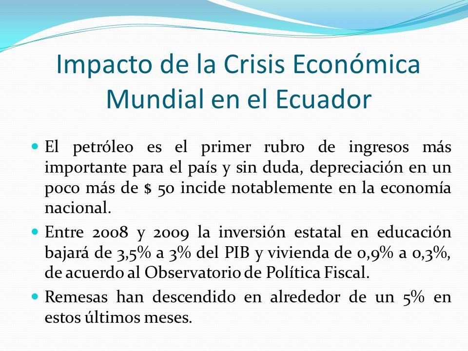 Impacto de la Crisis Económica Mundial en el Ecuador El petróleo es el primer rubro de ingresos más importante para el país y sin duda, depreciación e