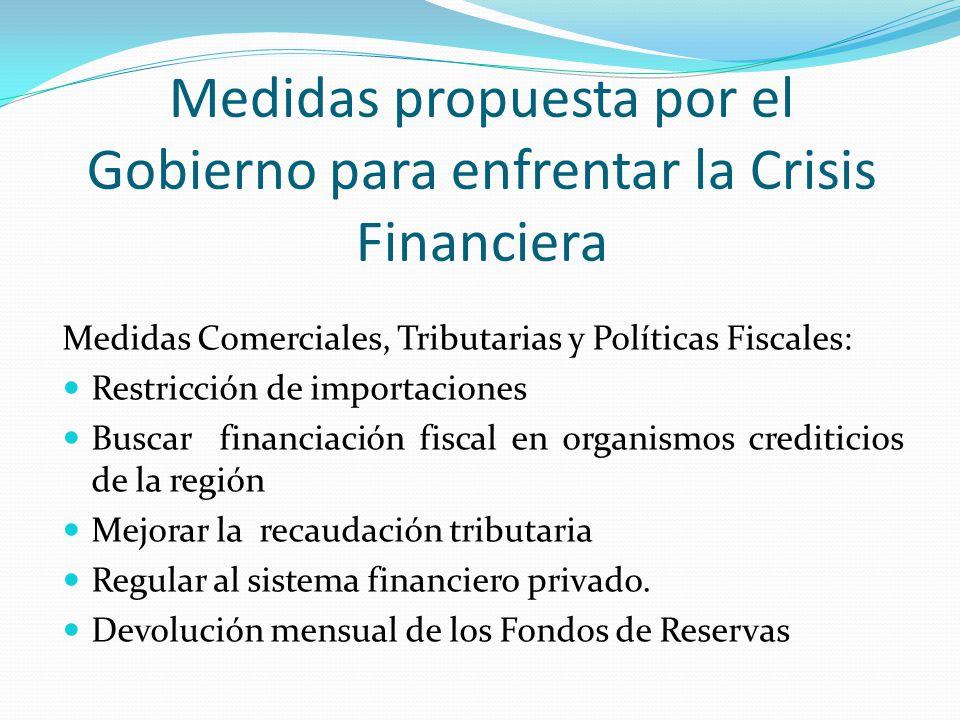 Medidas propuesta por el Gobierno para enfrentar la Crisis Financiera Medidas Comerciales, Tributarias y Políticas Fiscales: Restricción de importacio