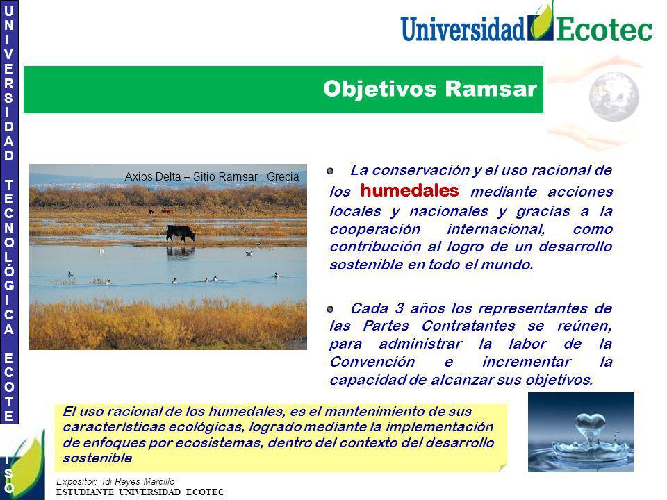 UNIVERSIDAD TECNOLÓGICA ECOTEC.ISO 9001:2008 UNIVERSIDAD TECNOLÓGICA ECOTEC.ISO 9001:2008 Expositor: Idi Reyes Marcillo ESTUDIANTE UNIVERSIDAD ECOTEC Objetivos Ramsar La conservación y el uso racional de los humedales mediante acciones locales y nacionales y gracias a la cooperación internacional, como contribución al logro de un desarrollo sostenible en todo el mundo.