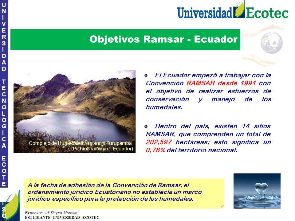 UNIVERSIDAD TECNOLÓGICA ECOTEC.ISO 9001:2008 UNIVERSIDAD TECNOLÓGICA ECOTEC.ISO 9001:2008 Expositor: Idi Reyes Marcillo ESTUDIANTE UNIVERSIDAD ECOTEC Objetivos Ramsar - Ecuador El Ecuador empezó a trabajar con la Convención RAMSAR desde 1991 con el objetivo de realizar esfuerzos de conservación y manejo de los humedales.