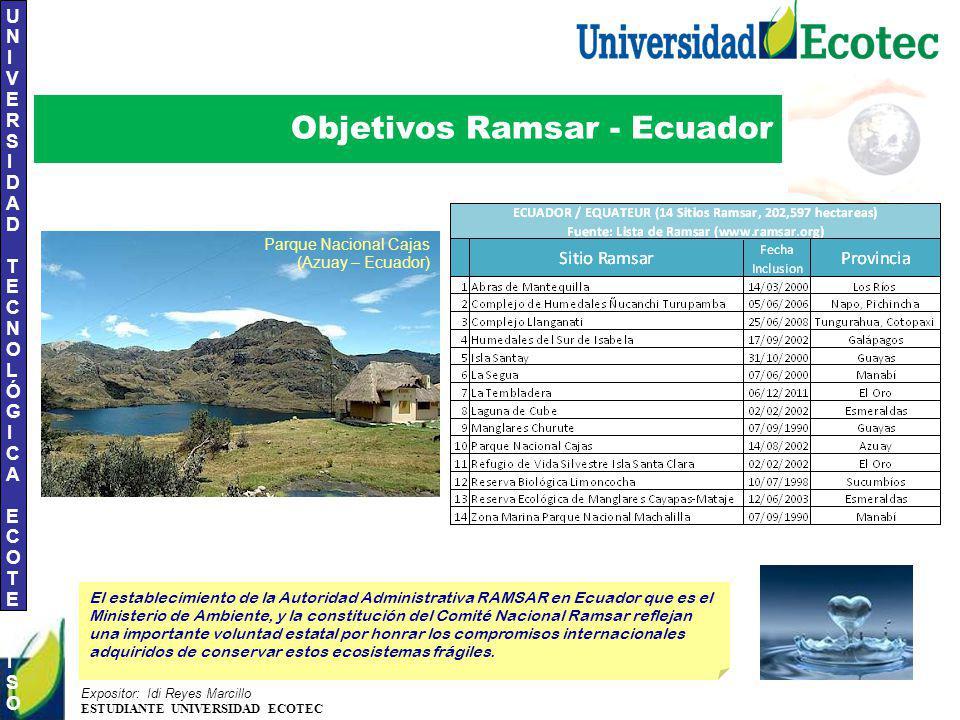 UNIVERSIDAD TECNOLÓGICA ECOTEC.ISO 9001:2008 UNIVERSIDAD TECNOLÓGICA ECOTEC.ISO 9001:2008 Expositor: Idi Reyes Marcillo ESTUDIANTE UNIVERSIDAD ECOTEC Objetivos Ramsar - Ecuador El establecimiento de la Autoridad Administrativa RAMSAR en Ecuador que es el Ministerio de Ambiente, y la constitución del Comité Nacional Ramsar reflejan una importante voluntad estatal por honrar los compromisos internacionales adquiridos de conservar estos ecosistemas frágiles.