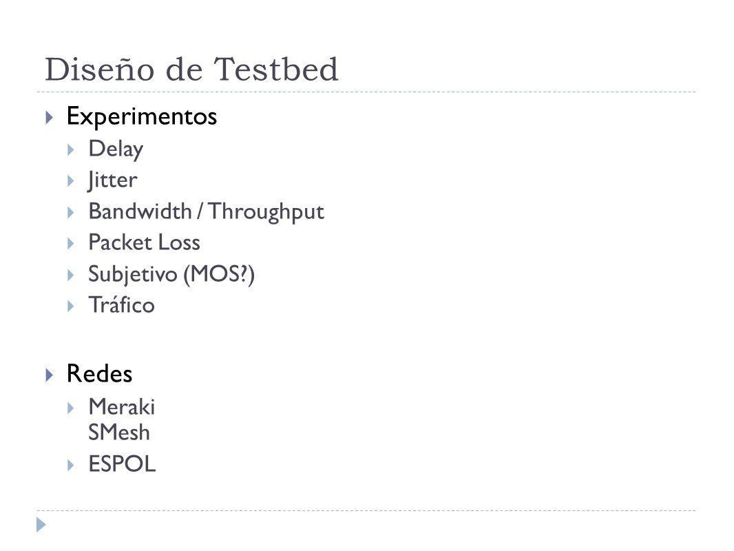Diseño de Testbed Experimentos Delay Jitter Bandwidth / Throughput Packet Loss Subjetivo (MOS?) Tráfico Redes Meraki SMesh ESPOL