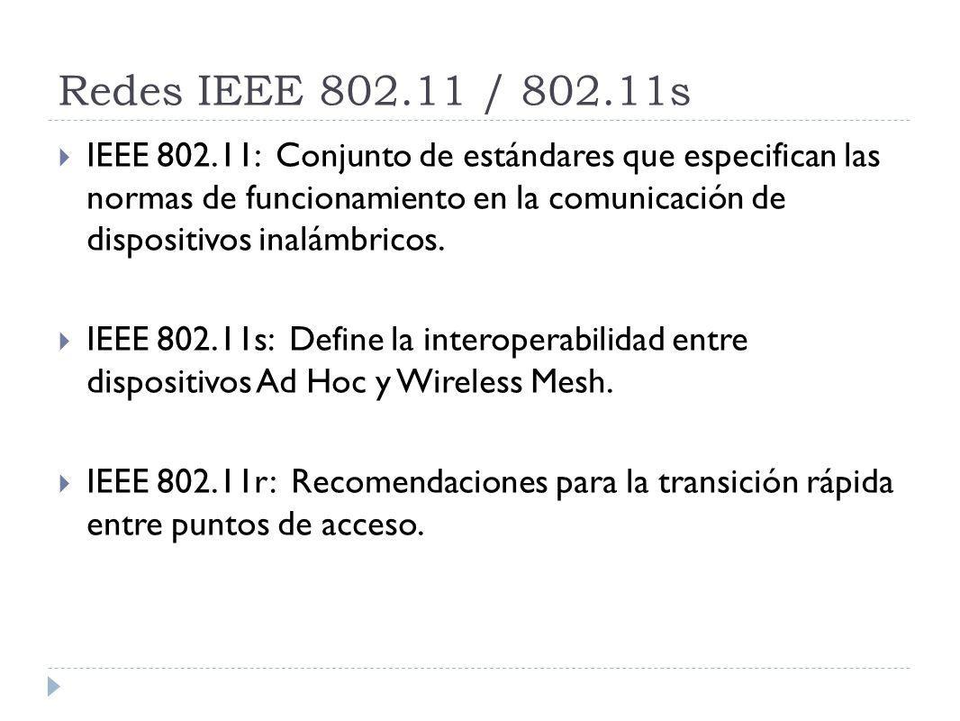 Redes IEEE 802.11 / 802.11s IEEE 802.11: Conjunto de estándares que especifican las normas de funcionamiento en la comunicación de dispositivos inalámbricos.