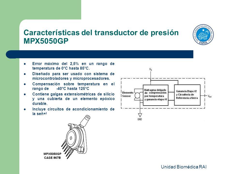 Características del transductor de presión MPX5050GP Error máximo del 2,5% en un rango de temperatura de 0°C hasta 85°C. Diseñado para ser usado con s