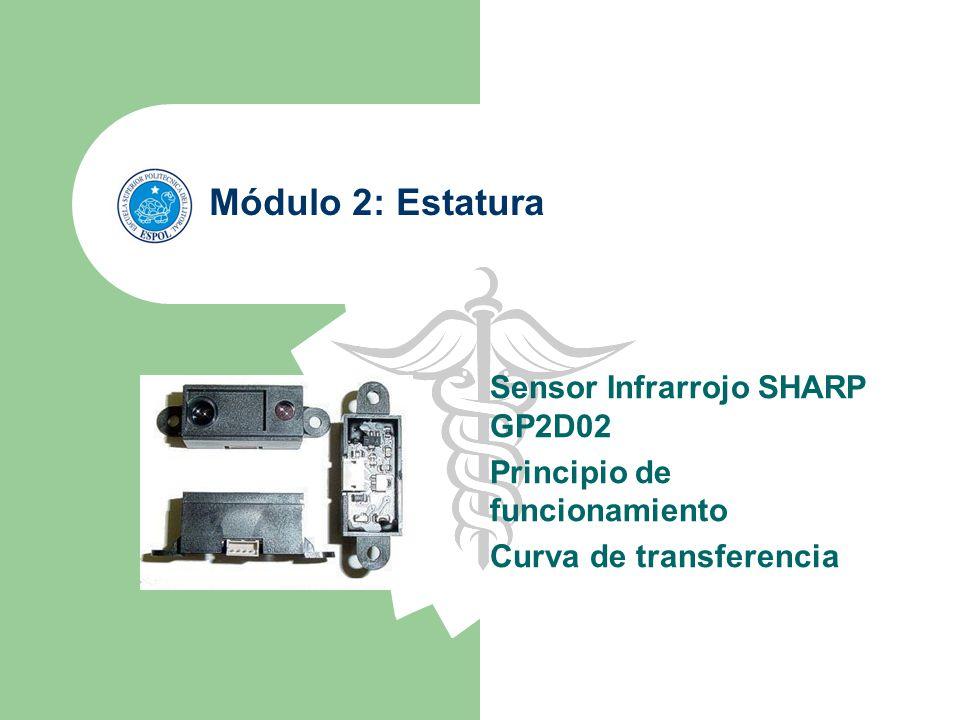 Módulo 2: Estatura Sensor Infrarrojo SHARP GP2D02 Principio de funcionamiento Curva de transferencia