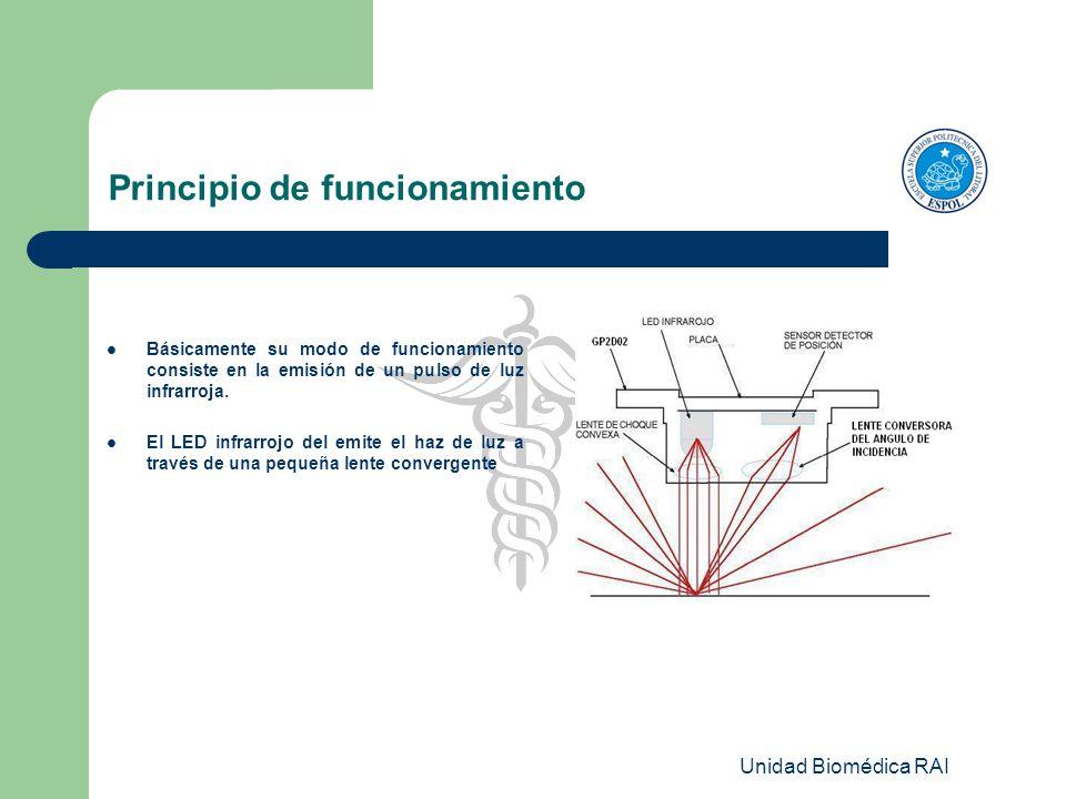 Unidad Biomédica RAI Principio de funcionamiento Básicamente su modo de funcionamiento consiste en la emisión de un pulso de luz infrarroja. El LED in