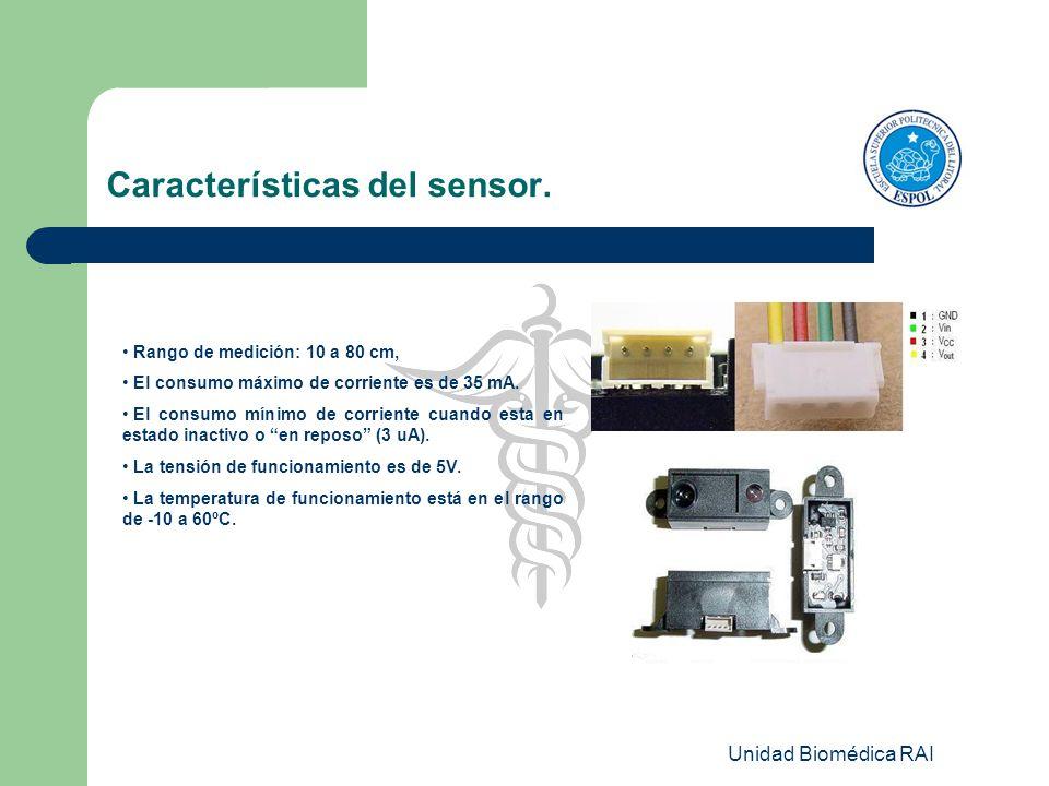 Unidad Biomédica RAI Características del sensor. Rango de medición: 10 a 80 cm, El consumo máximo de corriente es de 35 mA. El consumo mínimo de corri