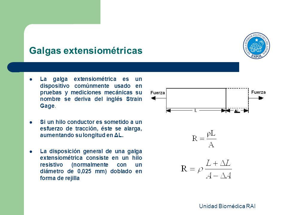Unidad Biomédica RAI Galgas extensiométricas La galga extensiométrica es un dispositivo comúnmente usado en pruebas y mediciones mecánicas su nombre s