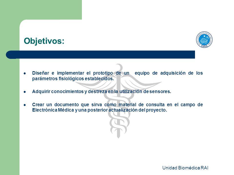 Unidad Biomédica RAI Objetivos: Diseñar e implementar el prototipo de un equipo de adquisición de los parámetros fisiológicos establecidos. Adquirir c