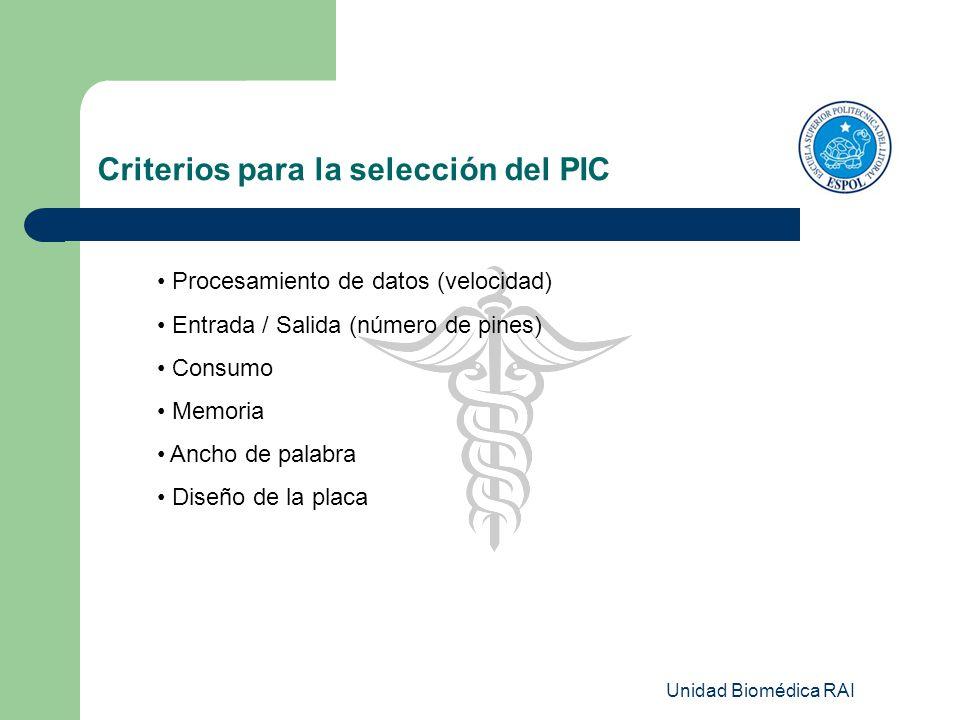 Unidad Biomédica RAI Procesamiento de datos (velocidad) Entrada / Salida (número de pines) Consumo Memoria Ancho de palabra Diseño de la placa Criteri