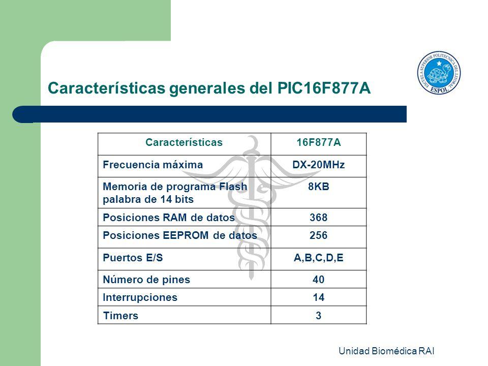 Unidad Biomédica RAI Características generales del PIC16F877A Características16F877A Frecuencia máximaDX-20MHz Memoria de programa Flash palabra de 14