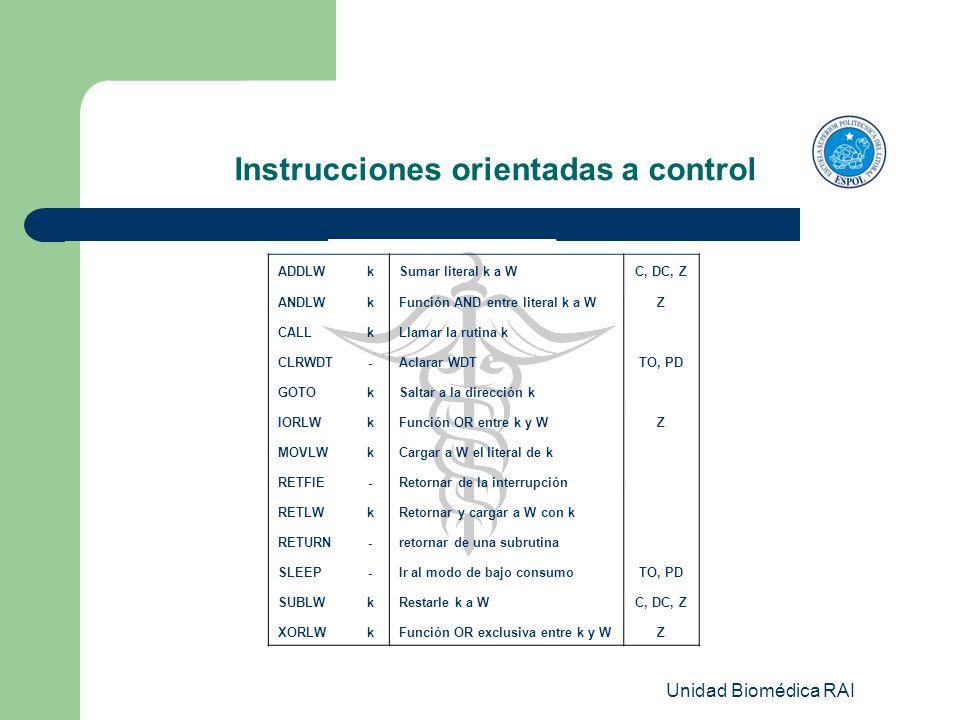Unidad Biomédica RAI Instrucciones orientadas a control ADDLWkSumar literal k a WC, DC, Z ANDLWkFunción AND entre literal k a WZ CALLkLlamar la rutina